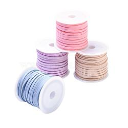 3mm Faux Suede Cord, Faux Suede Lace, Mixed Color, 3x1.5mm; about 5m/roll, 4rolls/set(LW-JP0003-01)