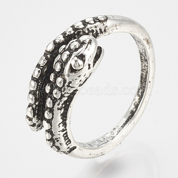 Adjustable Rings, Alloy Finger Rings, Snake, Antique Silver, Size 7, 17mm(RJEW-N027-14)