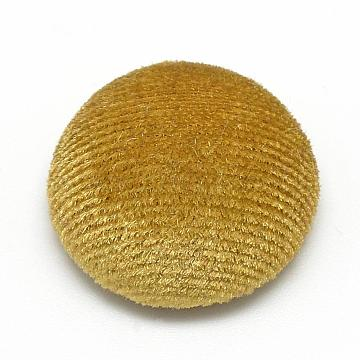 Velvet Covered Beads, with Aluminum Bottom, Half Round/Dome, Half Drilled, Gold, 21x11mm, Hole: 3mm(WOVE-S084-34E)
