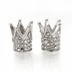 Perles en 304 acier inoxydable, avec des strass, couronne, couleur inoxydable, 12x10mm, Trou: 1mm(STAS-Q220-07A)