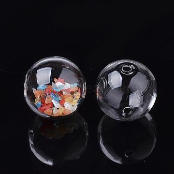 billes de globe en verre soufflé à la main, arrondir, effacer, 9.5~10x9 mm, trou: 1.5~2.5 mm(X-DH017J-1-10mm)