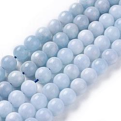 aigue-marine naturelle brins de perles, arrondir, 8 mm, trou: 1 mm; environ 49~50 perle / brin, 15.5 (39.5 cm)(G-F641-02-A)