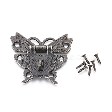 Alloy Latches Hasp Lock Clasp & Screws, for Vintage Cabinet Jewelry Box, Butterfly, Antique Bronze, 43x50x4mm(X-AJEW-WH0104-44AB)