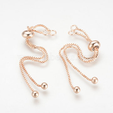 Brass Box Chain Slider Bracelet Making, Rose Gold, 3.54 inches(90mm), 1mm, Hole: 2mm(X-KK-Q675-05)