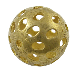 Filigree Beads, Brass, Round, carved patterns, Unplated, Nickel Free, about 21mm in diameter, hole: 2.5mm(X-EC02071Y)
