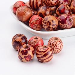rondes imprimé perles de bois, les perles d'espacement, pour les bijoux de chapelet en macramé bricolage, couleur mélangée, 16x15 mm, trou: 5 mm(X-WOOD-R243-16mm-M2)