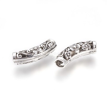 Hollow Tibetan Style Alloy Beads, Tube Beads, Antique Silver, 25.5x7mm, Hole: 4mm(PALLOY-WH0029-06AS)