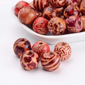 Round Printed Natural Wood Beads, Spacer Beads, for DIY Macrame Rosary Jewelry, Mixed Color, 16x15mm, Hole: 5mm(X-WOOD-R243-16mm-M2)