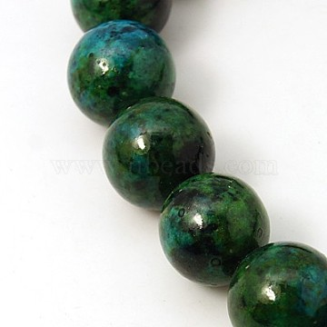 Gemstone Beads Strands, Synthetic Chrysocolla, Dyed & Heated, Round, Green, 16mm, Hole: 2mm, 15.74 inches(G-C211-16mm-1)