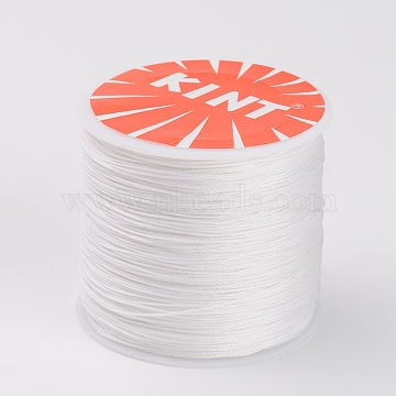 Round Waxed Polyester Cords, White, 0.5mm, about 115.92 yards(106m)/roll(YC-K002-0.5mm-18)