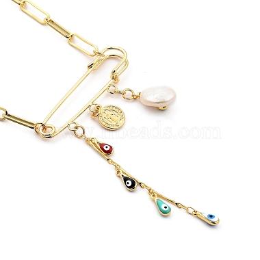 Evil Eye Brass Enamel Pendant Necklaces(NJEW-JN03053-01)-3
