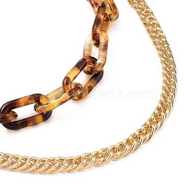 Transparent Acrylic & Aluminium Double Layer Necklaces(NJEW-JN02957)-2