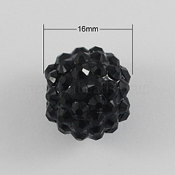 Смола горный хрусталь дискотека проложить шаровые шарики для коренастый парень ожерелье ювелирных изделий, круглые, чёрные, 16x14 мм, отверстие : 2.5 мм(X-RESI-S258-16mm-SS4)