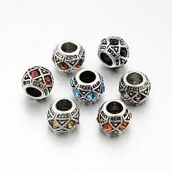 Perles européennes en alliage plaqué argent antique avec strass, perles de rondelle avec grand trou , couleur mixte, 10x8mm, Trou: 5mm(CPDL-J031-AS)
