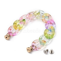 Transparent Acrylic Curb Chain for DIY Keychains, Phone Case Decoration Jewelry Accessories, with Brass Screw Nuts and Iron Screws, Colorful, 165mm(HJEW-JM00400-08)
