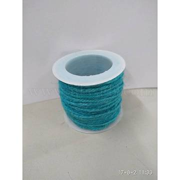 Jute Cord, Jute String, Jute Twine, for Jewelry Making, Dark Turquoise, 2mm, about 10.93 yards(10m)/roll(OCOR-WH0002-07)