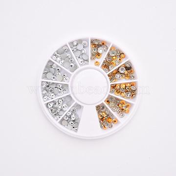 2 Colors Flat Back Rhinestone Cabochons, Nail Art Studs, Nail Art Decoration Accessories, Half Round, Mixed Color, 3x1mm(MRMJ-R090-76)