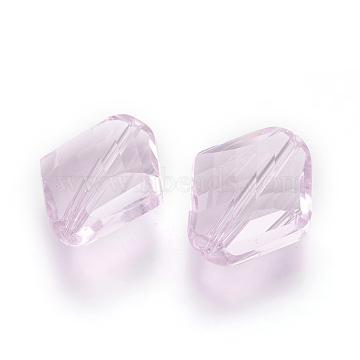 14mm Pink Rhombus Glass Beads