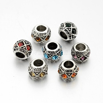 Antique Silver Plated Alloy Rhinestone European Beads, Large Hole Rondelle Beads, Mixed Color, 10x8mm, Hole: 5mm(CPDL-J031-AS)