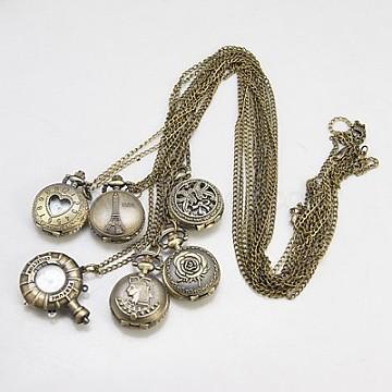 Fashion Iron Pocket Watches, with Brass Watch Head, Antique Bronze, 780mm(WACH-G006-M6)