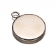 Flat Round 304 Stainless Steel Pendant Cabochon Settings(X-STAS-E079-05)-2