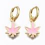 Pink Leaf Brass Earrings(EJEW-T014-28G-05-NF)