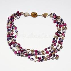 colliers en perles naturelles avec éclats de coquille pour femmes, colliers multicouches, rose foncé, 20.07(NJEW-L101-01)