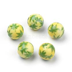 Perles acryliques imprimés opaques, rond avec motif cannabis / feuille de pot / feuille de chanvre, 'Chartreuse , 10x9.5mm, Trou: 2mm(MACR-S271-10mm-08)