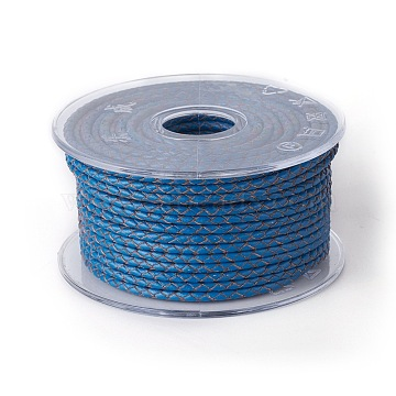 Braided Cowhide Cord, Leather Jewelry Cord, Jewelry DIY Making Material, Blue, 4mm, about 32.8 yards(30m)/roll(WL-I004-4mm-16)