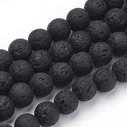 """Chapelets de perles de lave naturelle, teint, rond, noir, 10mm, trou: 1mm; environ 39 pcs/chapelet, 14.96"""" (38 cm)(G-S277-10mm-01)"""