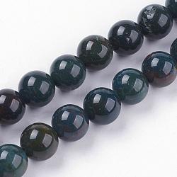 """Chapelets de perles en pierre de sang naturelle, rond, 8~8.5mm, trou: 1mm; environ 47 pcs/chapelet, 15.3"""" (39 cm)(G-N0120-25-8mm)"""