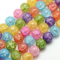 синтетический хрустят кварцевые круглые бусины пряди, окрашенная и подогревом, cmешанный цвет, 12 mm, отверстия: 1 mm; о 35 шт / прядь, 16.14(X-G-L155-12mm-01)
