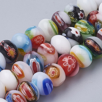 Handmade Millefiori Lampwork Beads Strands, Flat Round, Mixed Color, 10x6~7mm, Hole: 1mm; about 56pcs/strand, 14.9 inches(X-LAMP-T005-27)