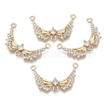 Brass Micro Pave Cubic Zirconia Chandelier Component Links, Long-Lasting Plated, Wing, Light Gold, Clear, 15x24x3.5mm, Hole: 1.2mm(X-KK-R111-040)