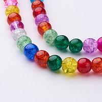 16 дюймовые круглые кракле стеклянные нитки разных цветов, 8 mm, о 48 шт / прядь, отверстия: около 1 mm