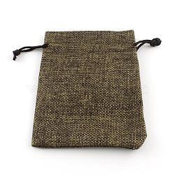 jute emballage sachets cordon sacs, pour noël, fête de mariage et emballage de bricolage, Sienna, 9x7 cm(ABAG-R005-9x7-05)