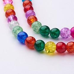 """Perles en verre craquelé rondes 16"""" teintes avec couleur mixte, 8mm, Environ 48 pcs/chapelet, trou: environ 1 mm(X-GGM003)"""