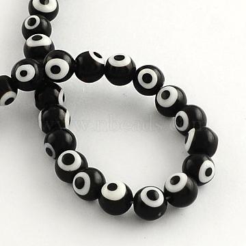 10mm Black Round Lampwork Beads