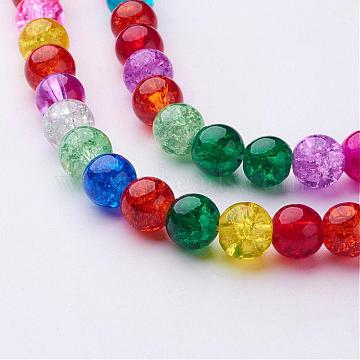 16inches Mixed Color Round Crackle Glass Strands, 8mm, about 48pcs/strand, hole: about 1mm (X-GGM003)