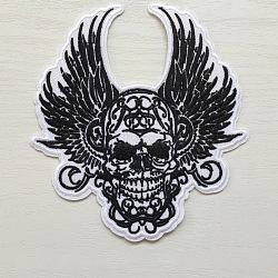 fer à repasser informatisé sur pièces, accessoires de costumes, appliques, crâne avec des ailes, noir, 146x133 mm(DIY-L003-025)