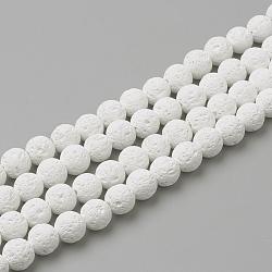 """Chapelets de perles de lave naturelle, teint, rond, blanc, 6mm, trou: 1mm; environ 61 pcs/chapelet, 14.96"""" (38 cm)(X-G-S247-6mm-08)"""