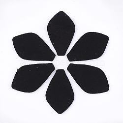 Tissu en cuir de peau de mouton écologique, feuille, pour bricolage bijoux fabrication artisanat, noir, 30x18x1mm(FIND-S301-15A)