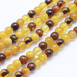 "Perles d'ambre naturel brins, rond, 4mm, trou: 1mm; environ 102 pcs/chapelet, 15.7"" (40 cm)(G-P336-16-4mm)"