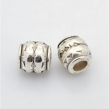Tibetan Style Alloy Large Hole Barrel Beads, Antique Silver, Lead Free & Cadmium Free & Nickel Free; 8x8mm, Hole: 3.5mm(X-LF0929Y-NF)