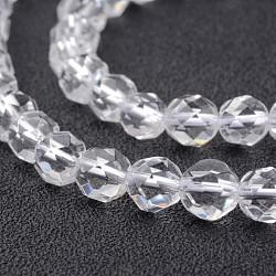 """Chapelets de perle en cristal de quartz naturel, facette, rond, 6mm, trou: 1mm; environ 63 pcs/chapelet, 15.2""""(G-F332-01-6mm)"""