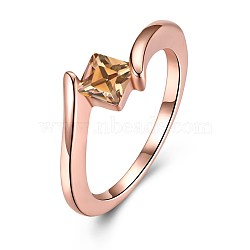 laiton zircone cubique anneaux, taille 6, or rose, 16.5 mm(RJEW-BB29768-6)