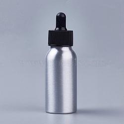 bouteilles de compte-gouttes en verre vide en aluminium, pour les huiles essentielles produits chimiques de laboratoire d'aromathérapie, noir, 10.8x3.5 cm; capacité: 50 ml; 6 pcs / boîte(MRMJ-PH0001-18)