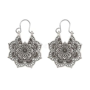 Bohemian Retro Style Alloy Dangle Hoop Earrings, Mandala Earrings, Flower, Antique Silver, 41~44mm; Pin: 0.7mm; Flower: 31.5x28.5x1.8mm(EJEW-TAC0003-01AS)