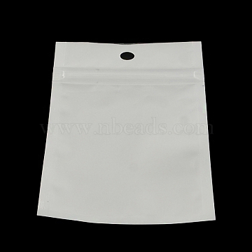 Pearl Film Plastic Zip Lock Bags, Resealable Packaging Bags, with Hang Hole, Top Seal, Self Seal Bag, Rectangle, White, 10x7cm; inner measure: 7x6cm(OPP-R003-7x10)