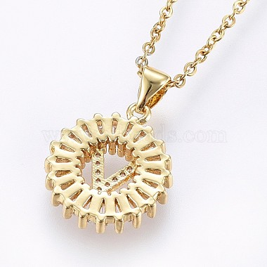 304 Stainless Steel Initial Pendant Necklaces(NJEW-H486-30G-V)-2
